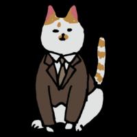 スーツを着たネコのフリーイラスト