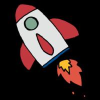 飛んでいるロケットのフリーイラスト