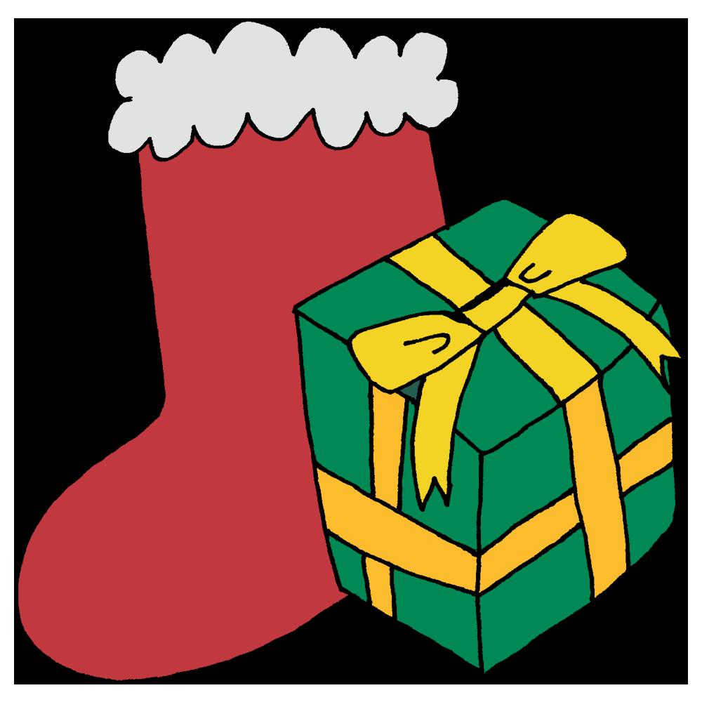 靴下とプレゼントのフリーイラスト