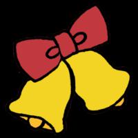 手書き風,Christmas,クリスマス,Xmas,飾りつけ,オーナメント,鈴,リボン,2つ,鳴る,12月,冬,イベント