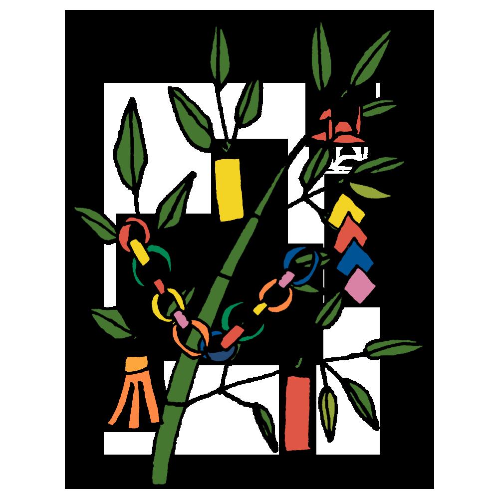 手書き風,植物,笹,ささ.ササ,七夕,7月7日,笹の葉,和,節,夏,飾り,折り紙,短冊,鶴,吹き流し,願い事,たなばた,タナバタ