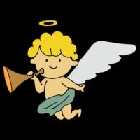 手書き風,物語,天使,エンジェル,羽,ラッパ,飛ぶ,良い,善人,天国,死後,てんし,楽器,音楽,空想