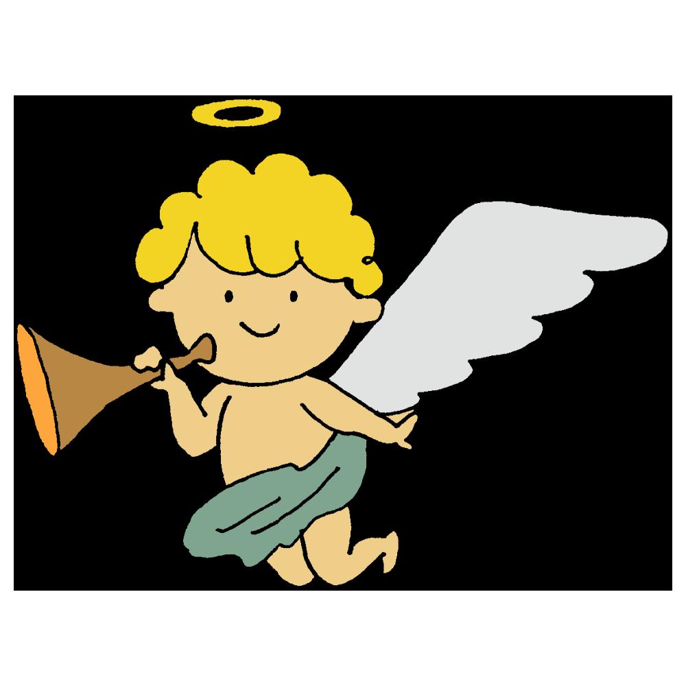 ラッパを持った天使のフリーイラスト