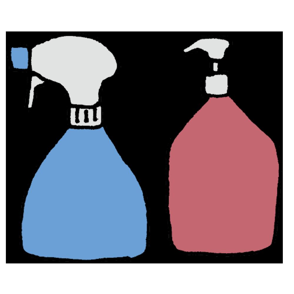 アルコール除菌のスプレーとポンプのフリーイラスト