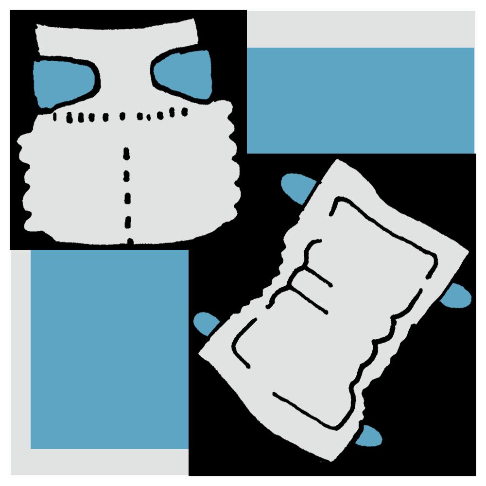 テープタイプの紙オムツのフリーイラスト