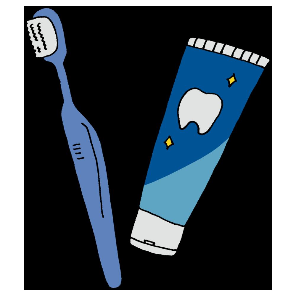 歯ブラシと歯磨き粉のフリーイラスト
