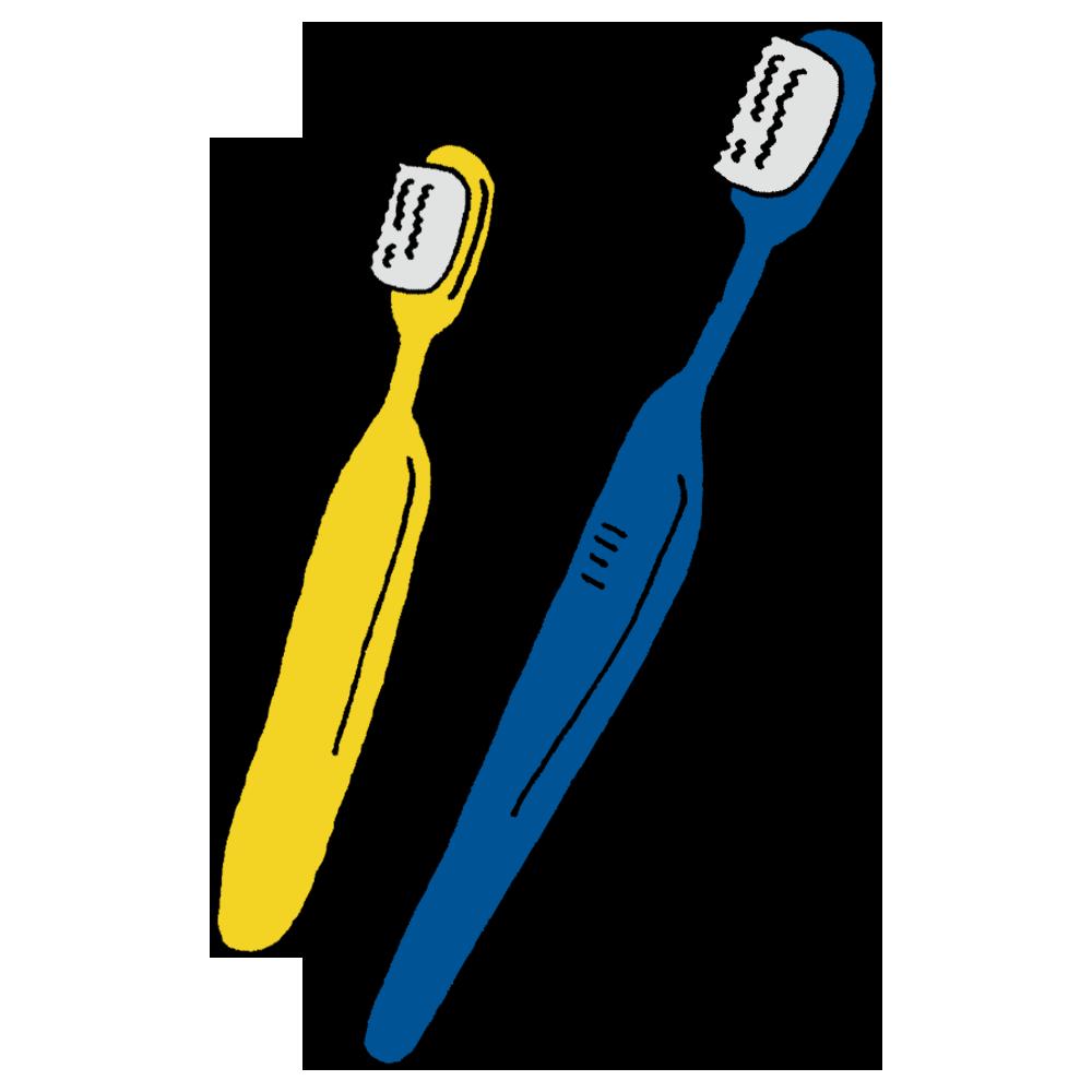 大小大きさの違う歯ブラシのフリーイラスト