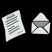 便箋に書かれた手紙と封筒のフリーイラスト