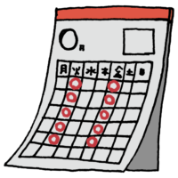 火曜日と金曜日に丸がついたカレンダーのフリーイラスト