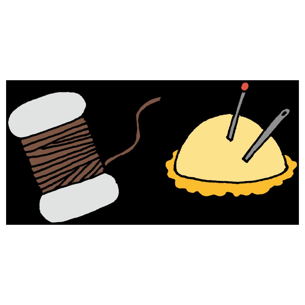手縫い糸と針のフリーイラスト