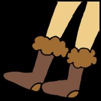 もこもこの靴下を履いた足のフリーイラスト