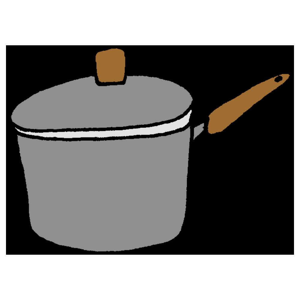 とってのついたお鍋のフリーイラスト