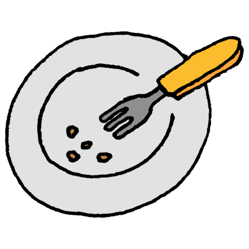 食べカスののったお皿とフォークのフリーイラスト