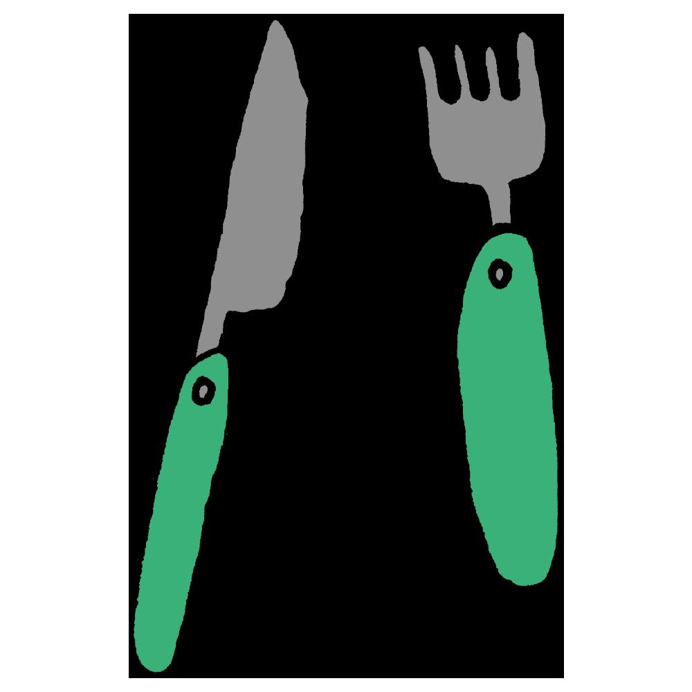 子供用のフォークとナイフのフリーイラスト