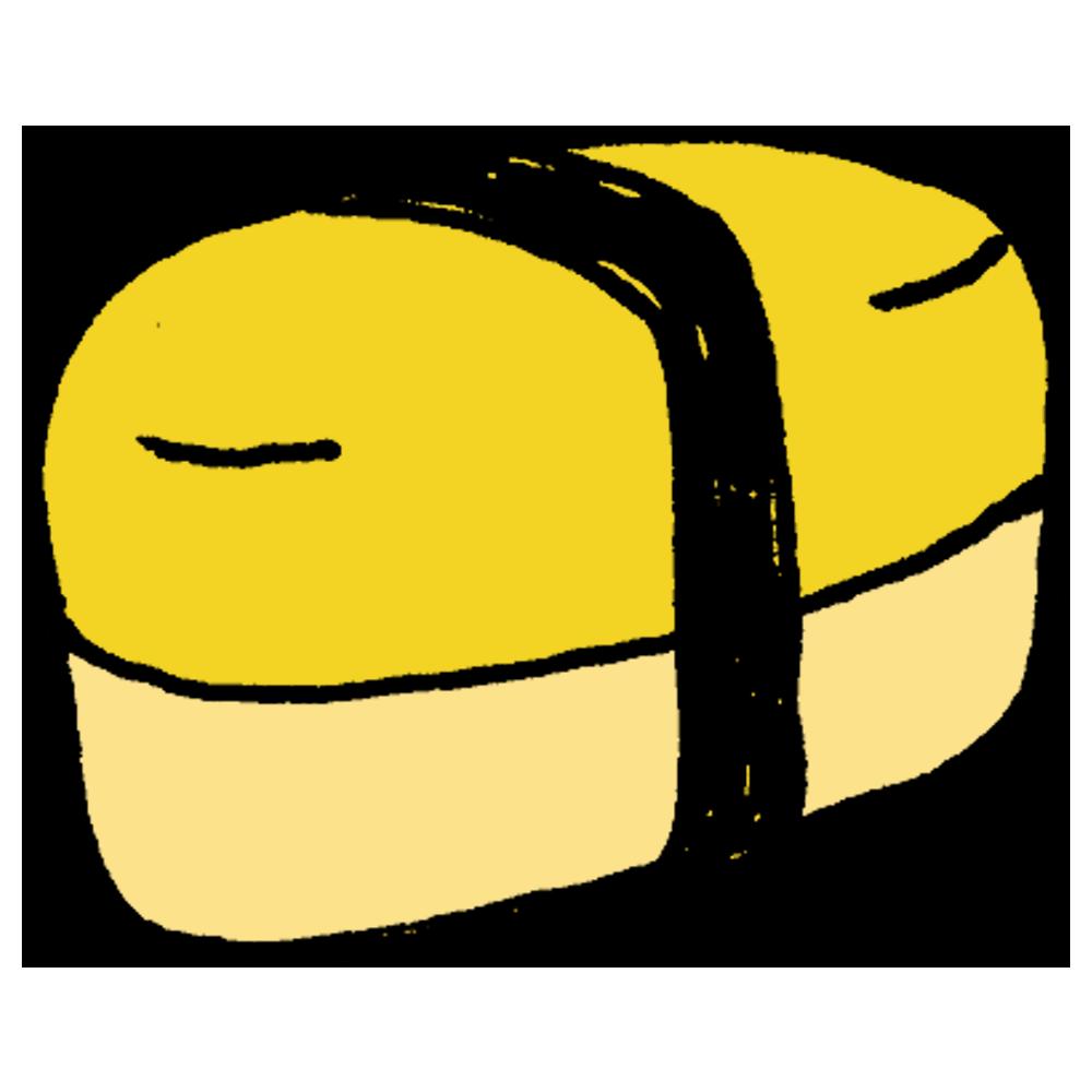 楕円形のお弁当箱のフリーイラスト