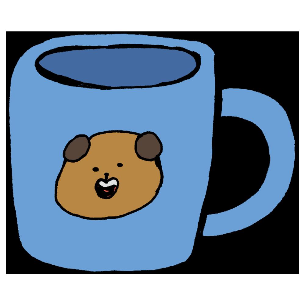 ワンちゃんのマグカップのフリーイラスト