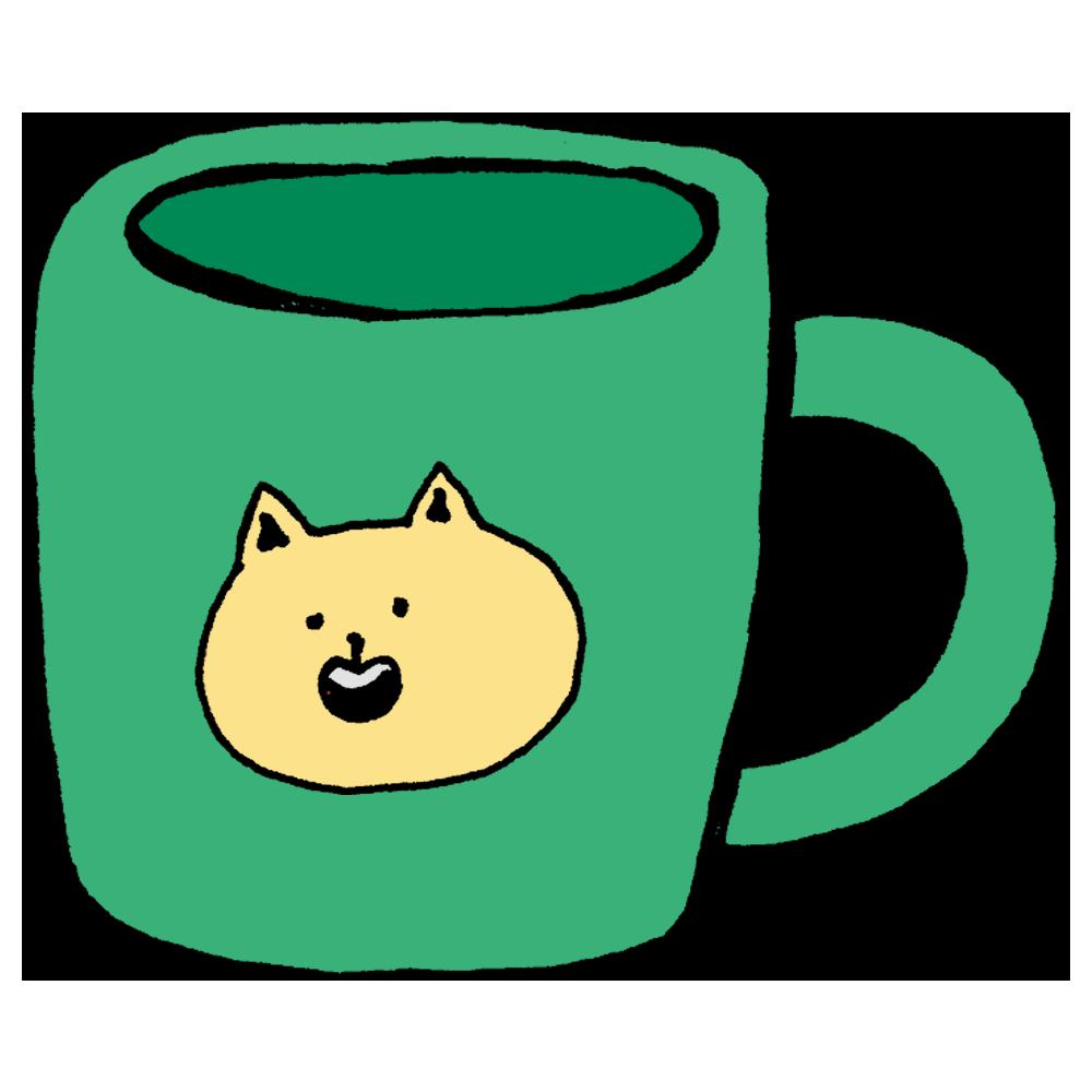 ネコちゃんのマグカップのフリーイラスト