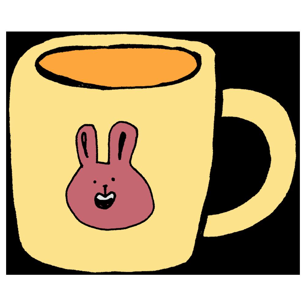 ウサちゃんのマグカップのフリーイラスト