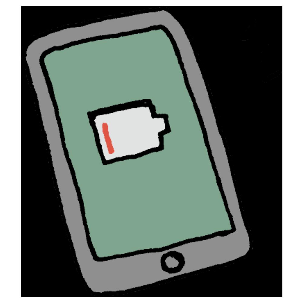 充電が切れそうなスマートフォンのフリーイラスト