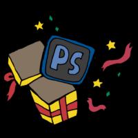 プレゼントの箱から飛び出してくるPSDデータのフリーイラスト