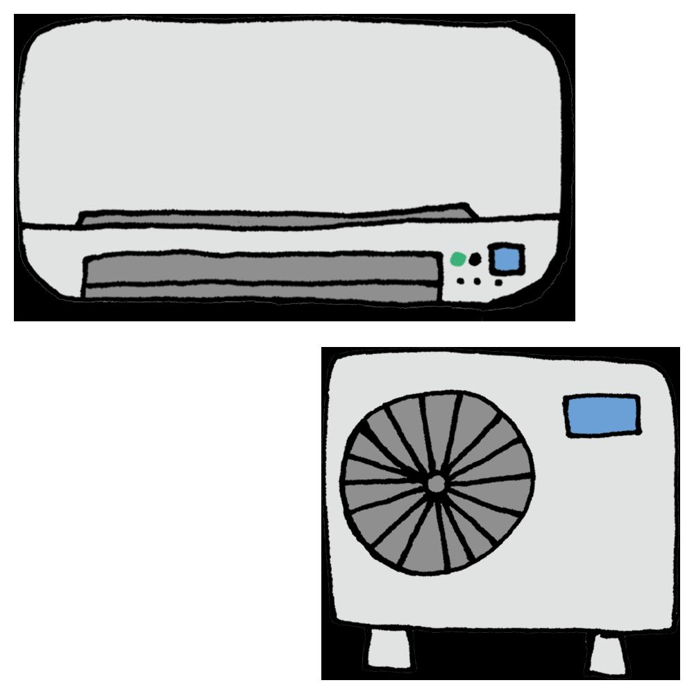 エアコンと室外機のフリーイラスト
