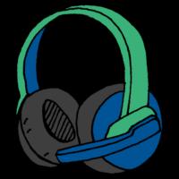 手書き風,ヘッドフォン,ヘッドホン,聞く,聴く,音楽,電化製品,音漏れ,音,電子機器,マイク,ゲーミング,ゲーム,喋る,話す,話しながら,オンラインゲーム