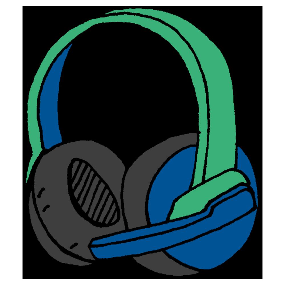 ゲーム用のマイク付きヘッドフォンのフリーイラスト
