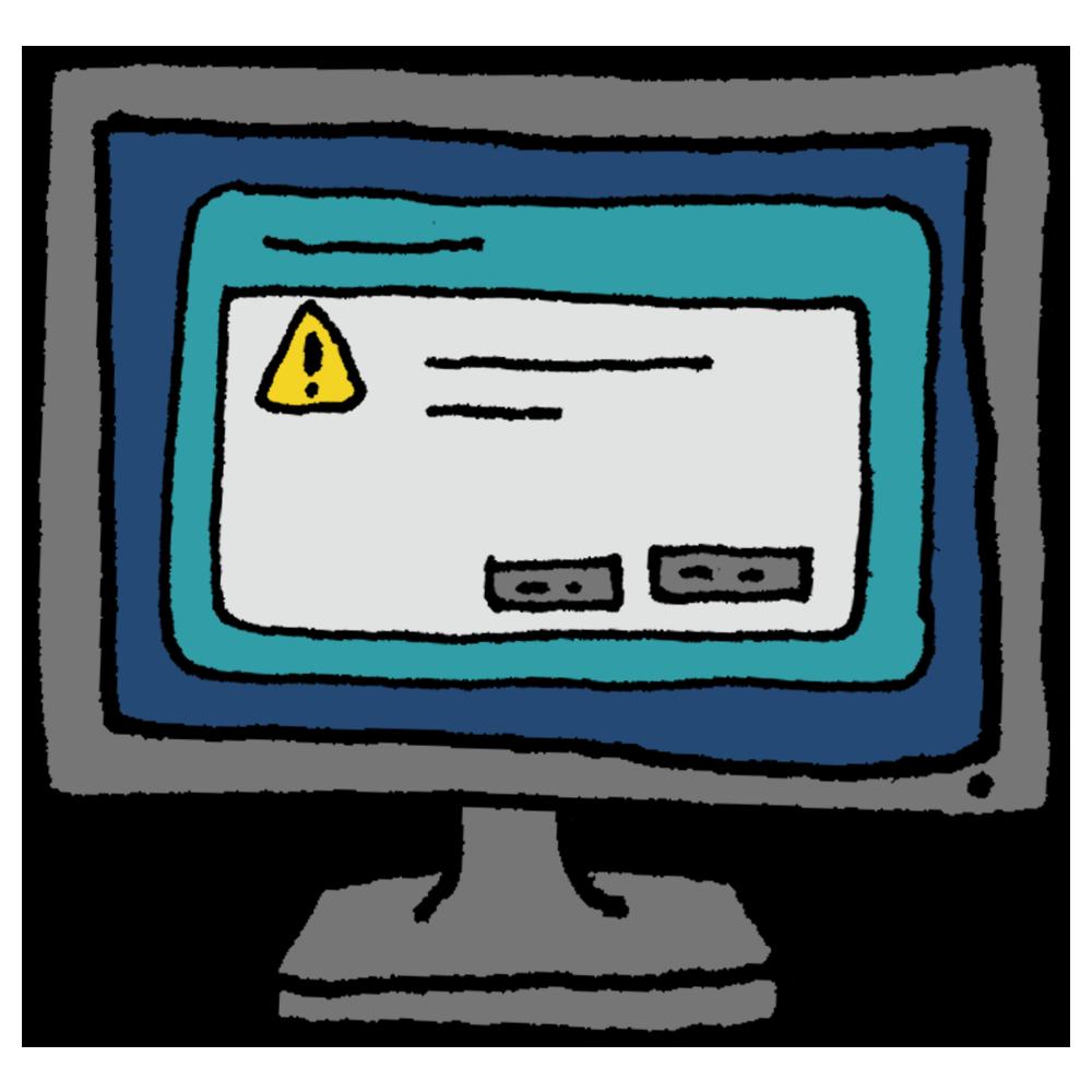 パソコンの画面に表示されたポップアップのフリーイラスト