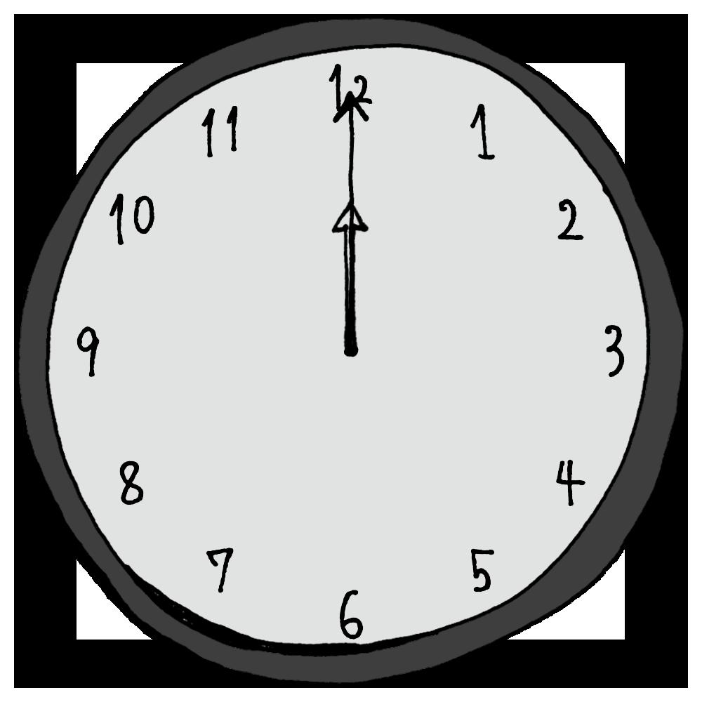正午,昼休み,真夜中,12時,0時,時計,針,時間,手書き風,家電,電化製品,タイム,アナログ,短い針,長い針,時間の勉強,数字