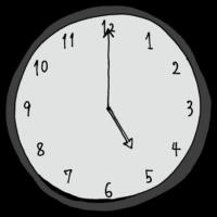 5時,17時,夕方,帰宅,帰宅時間,手書き風,時計,時間,時間の勉強,インテリア,電化製品,針,数字,記号