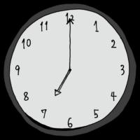 7時,19時,ご飯,夕飯,朝ごはん,準備,帰宅,帰宅時間,手書き風,時計,時間,時間の勉強,インテリア,電化製品,針,数字,記号
