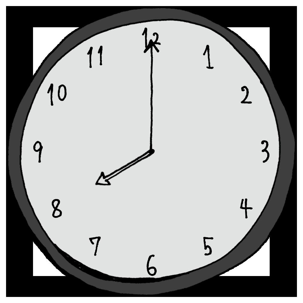 8時,20時,ご飯,夕飯,朝食,手書き風,時計,時間,時間の勉強,インテリア,電化製品,針,数字,記号
