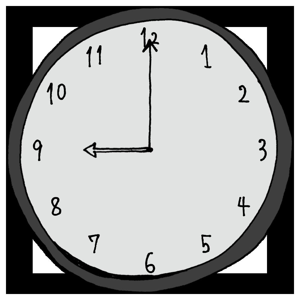 9時,21時,手書き風,時計,時間,時間の勉強,インテリア,電化製品,針,数字,記号