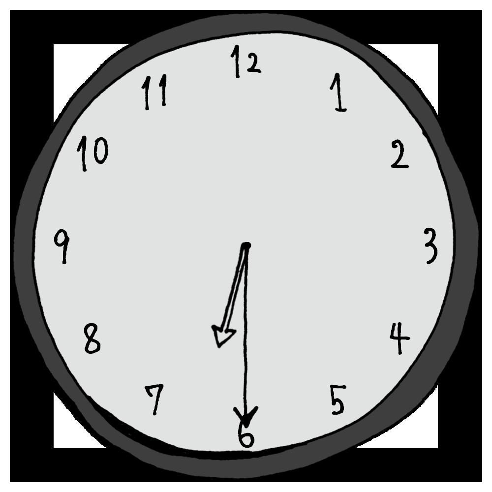 6時30分,18時30分,インテリア,手書き風,数字,時計,時間,時間の勉強,記号,針,電化製品,18時半,6時半