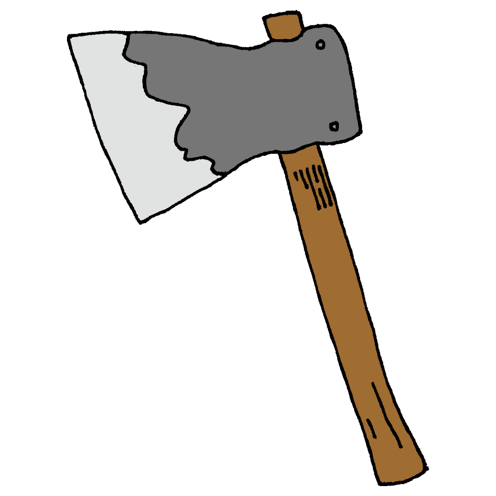 手書き風,工具,斧,壊す,薪,割る,破壊,壊れる,使う,おの,木