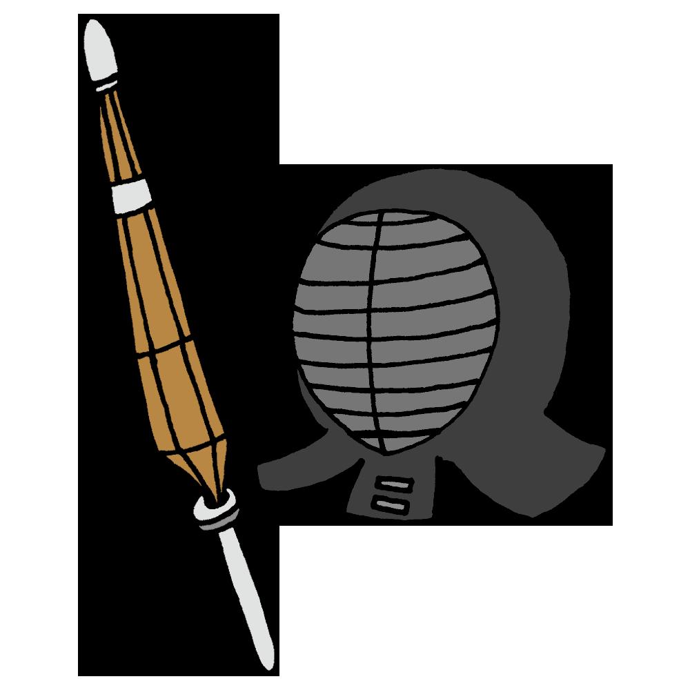 剣道の面と竹刀のフリーイラスト