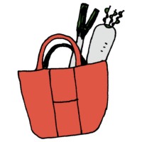 手書き風,ショッピング,買い物袋,買い物,お買い物,大根,ネギ,長ネギ,バッグ,バック,買う,買った,生活,ショッピングバッグ,エコバック,エコバッグ,環境問題,ECO,荷物