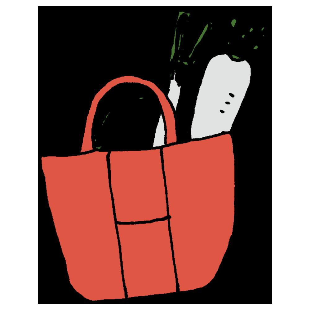 大根とネギが入った買い物袋のフリーイラスト