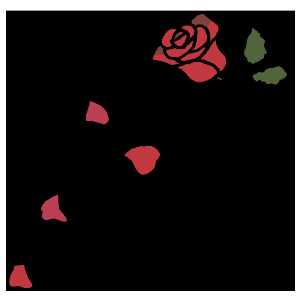 花びらが散っているバラの花のフリーイラスト