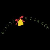 葉と鈴とリボンの飾りのフリーイラスト