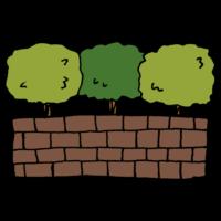 小さい木とレンガのフリーイラスト