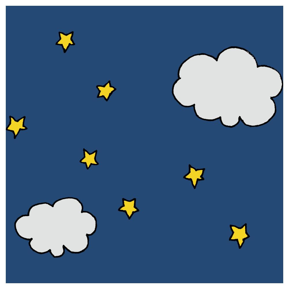夜空,星,雲,くも,天気,晴れ,夜,自然,空,手書き風,景色,夜景,星空