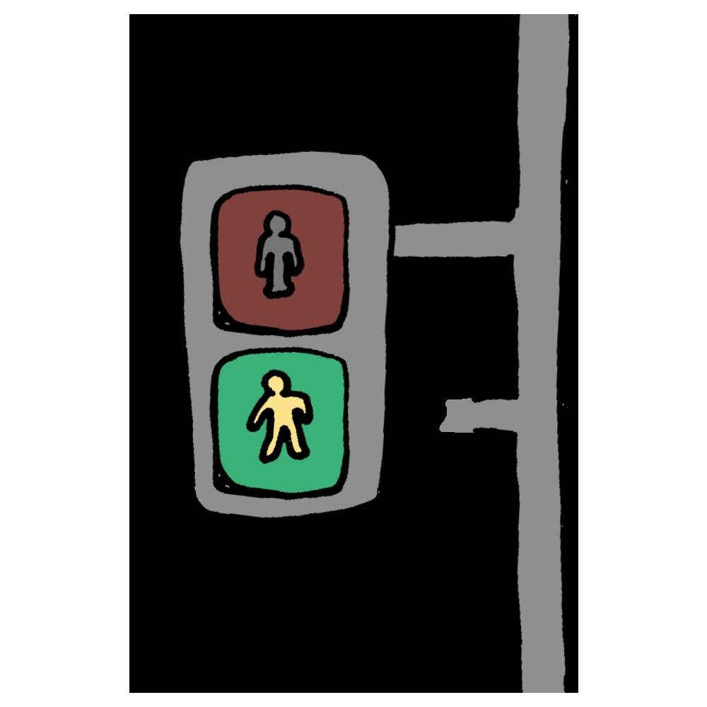 手書き風,信号機,歩行者用,歩行者用信号機,青色,青,点滅,信号,歩行,歩く,危険,注意,渡る,横断歩道,道路,道,景色