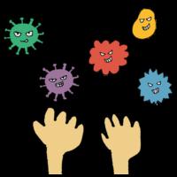 ウイルスまみれの手のフリーイラスト