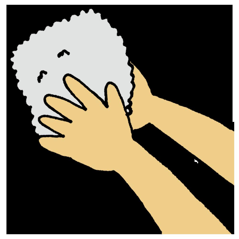 おしぼりで手を拭くのフリーイラスト