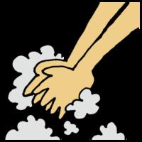 手書き風,手洗い,手を洗う,泡,予防,対策,風邪,ウイルス,インフルエンザ,除菌,殺菌,綺麗,汚れ,落とす,洗う,手,医療,体のパーツ,ハンド,ウォッシュ