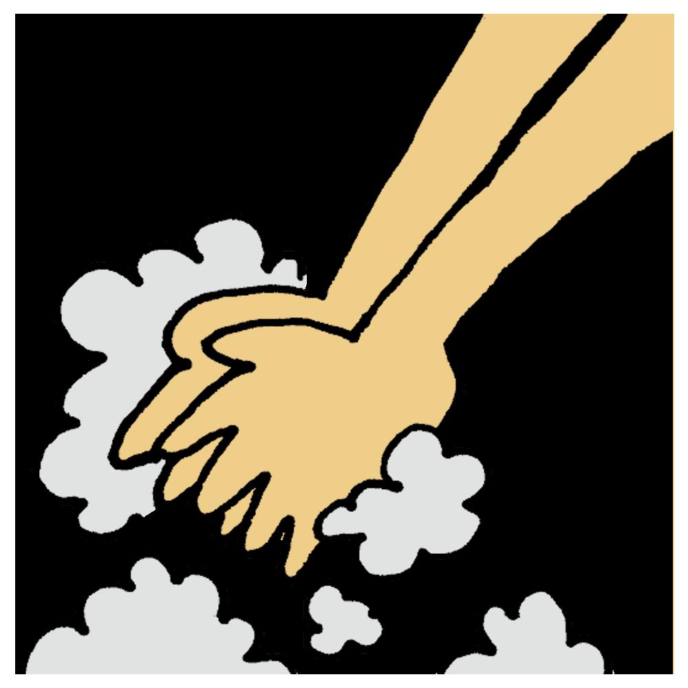 洗われる手のフリーイラスト