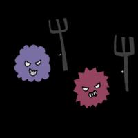 棒を持ったウイルスのフリーイラスト