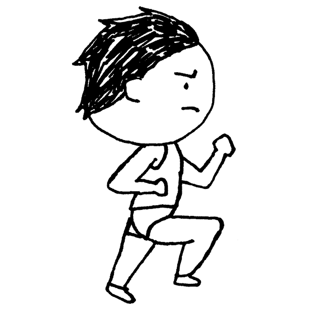 陸上競技のユニフォームを着て走る横向きの男性のフリーイラスト