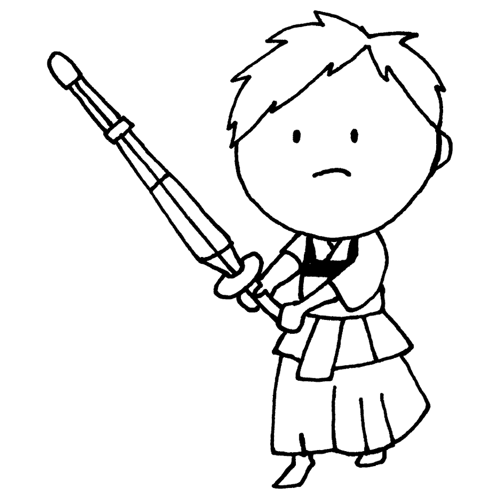 手書き風,人物,男の子,剣道,けんどう,ケンドウ,剣道着,スポーツ,運動,部活,部活動,剣の道,武道,竹刀,防具,剣術,剣道部,面,胴,構え,素振り,練習,特訓,強くなる